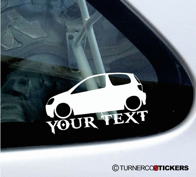 2x Custom YOUR TEXT Lowered car stickers - Toyota Yaris VVTi (Vitz RS, Echo) 1st Gen